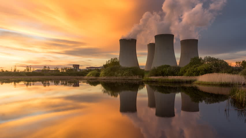 Nuclear power plant by sunset in the landscape with small lake. Timelapse video. | Shutterstock HD Video #26812528