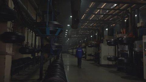 BILA TSERKVA, UKRAINE – FEBRUARY 18, 2017: tire manufacturing at tire factory in Bila Tserkva, Ukraine