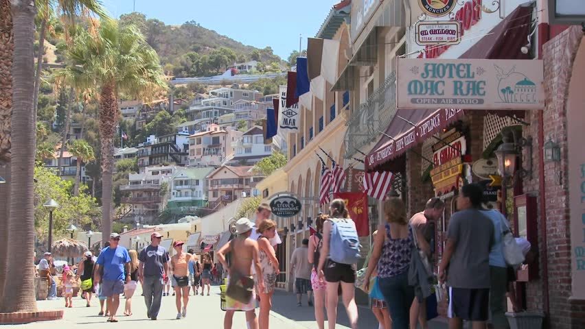 CATALINA ISLAND, CA-CIRCA 2011-Summer crowds on the boardwalk at Catalina Island in Southern California.