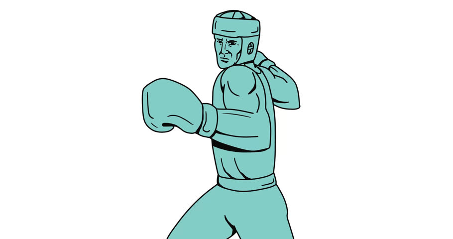 2d Animation motion graphics drawing sketch style illustration of boxer wearing head gear and boxing gloves doing an overhead punch  on white, green screen with alpha matte 4k ultra-high-definition.