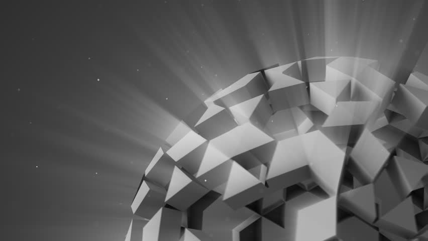 Grey polygonal sci-fi ball rotating. Computer generated abstract 3D render animation 4k UHD (3840x2160) | Shutterstock HD Video #26848006