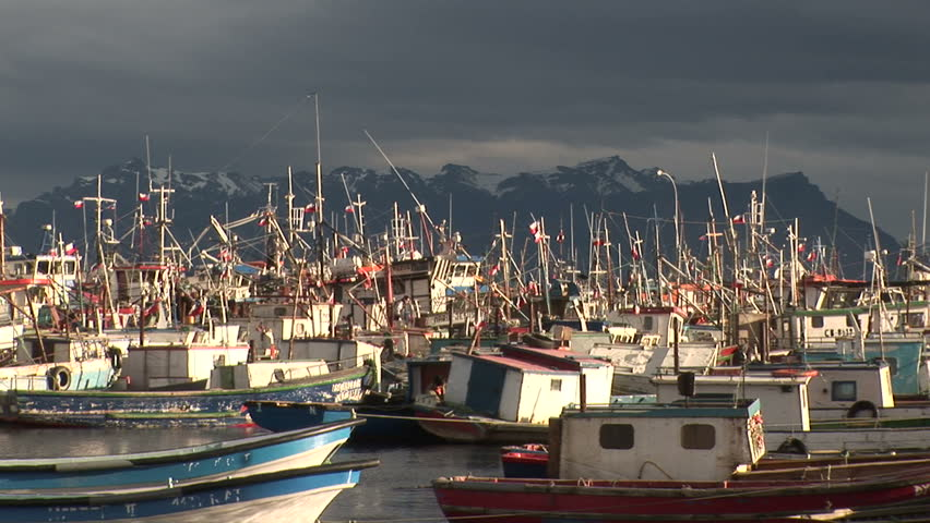 Crowded seaport in Puerto Natales, Chile