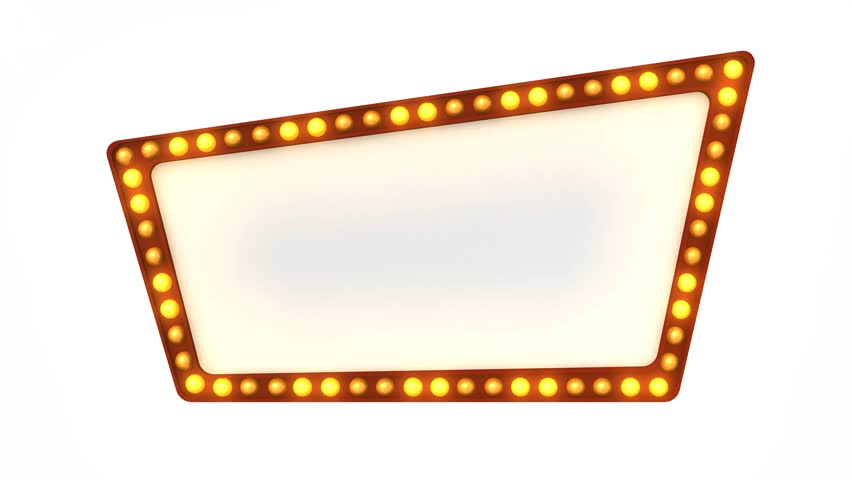 Marquee Light Board Sign Retro On White Background