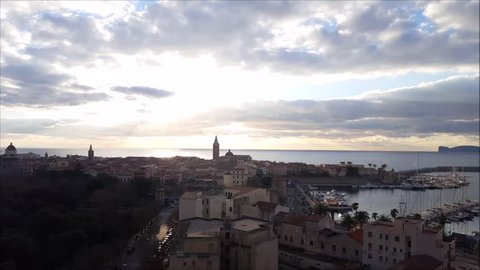 Alghero skyline at the sunset, Sardinia, Italy