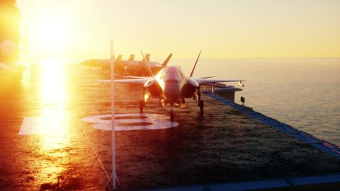 Jet f35, fighter on aircraft carrier in sea, ocean . War and weapon concept. Realistic 4k animation.