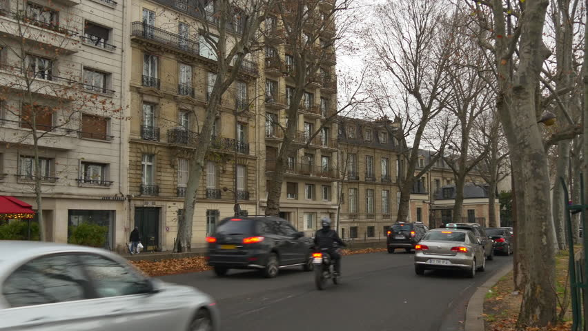 Paris cloudy day traffic street side view panorama 4k france | Shutterstock HD Video #26968558