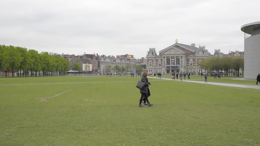 AMSTERDAM, NETHERLANDS - MAY 10, 2017: The Vincent van Gogh Museum and Concertgebouw in Amsterdam