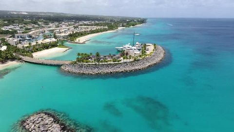Luxury Caribbean Port and Marina from the sky - Yachts and boats docked on White Sand Beaches on Tropical Vacation Island for Holiday Summer Travel - Bridgetown, Barbados: 19 May 2017