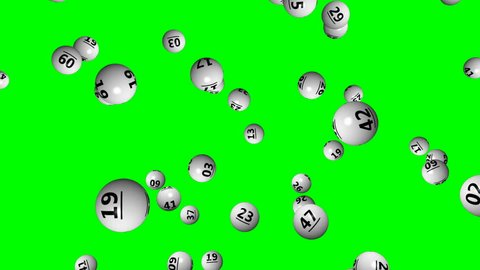 Lottery ball with numbers on green screen - loop, 4K