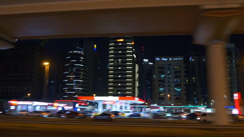 dubai night light road trip side panorama 4k uae