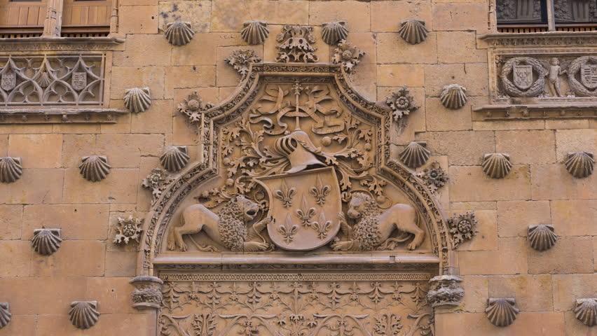 Facade of Casa de las Conchas, Salamanca city, Salamanca province, Castilla y Leon, Spain, Europe