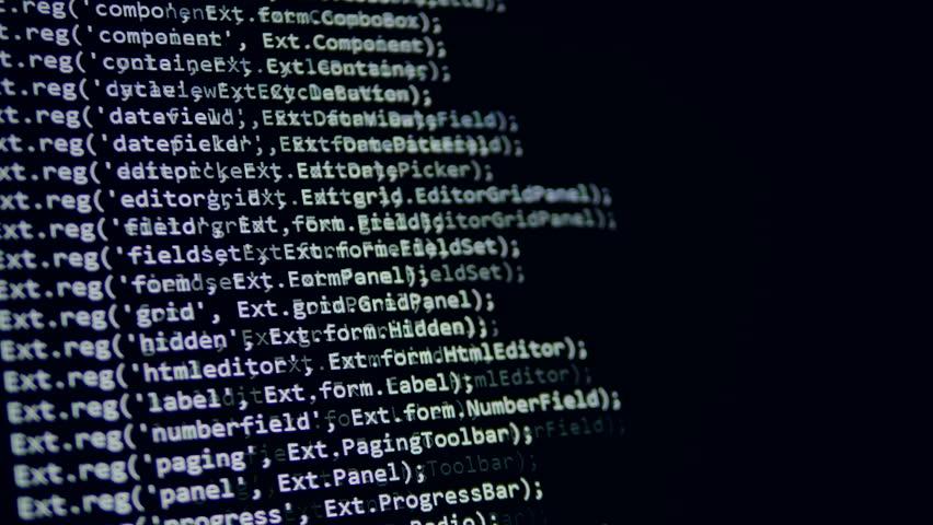 Binary code, software data digital display moving on computer screen. 4K.