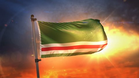 Chechen Republic of Ichkeria Flag Backlit At Beautiful Sunrise Loop Slow Motion 3D Rendering 4K