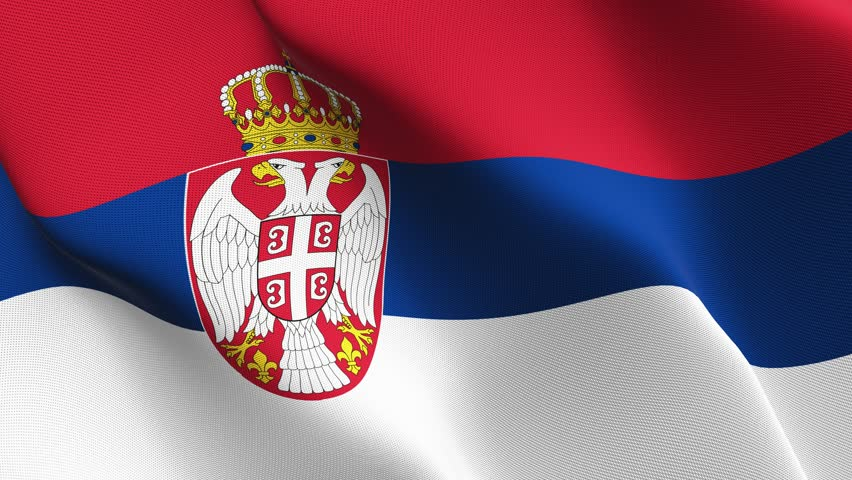 Realistic 3D Flag Of Serbia With Satin Fabric Texture. Stock Photo ...