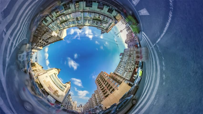 Spherical, Panorama Video 360 Degree Rabbit Hole Planet. Time Lapse. Transportation in Kiev. Downtown Area, Plaza. Traffic, Cars Are Driven by Road, Marking Close Up. Vacation in Famous Old City. | Shutterstock HD Video #27168502
