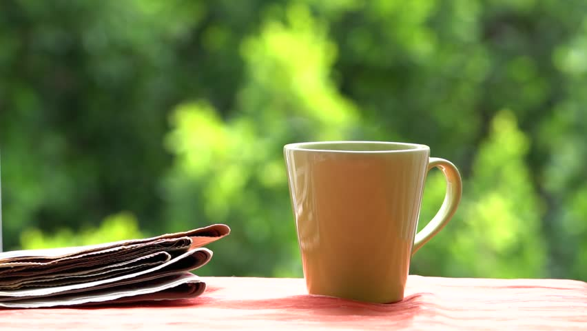 Fresh breakfast with hot coffee and reading newspapers in morning sunlight | Shutterstock HD Video #27177538