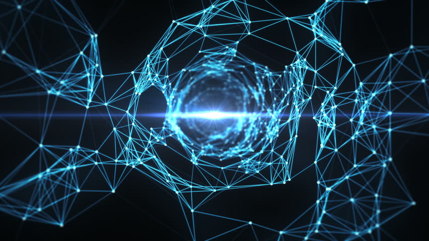 A Digital Plexus Funnel, made of digital nodes and connection paths with lens flare sending information. This animation is for visuals, vj, light presentations or as motion background. Seamless Loop.