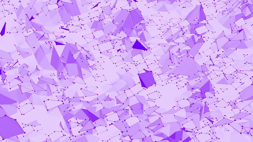 Violet or purple low poly waving surface as abstract backdrop. Violet geometric vibrating environment or pulsating background in cartoon low poly popular modern stylish 3D design 1.   Shutterstock HD Video #27199588