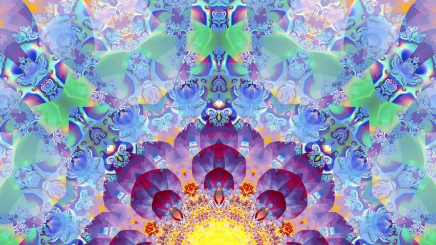 Colored kaleidoscope sequence patterns. Abstract multicolored motion graphics background. Or for yoga, clubs, shows, mandala, fractal animation. Beautiful bright ornament. Seamless loop
