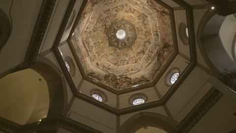 FLORENCE, ITALY - JULY 11, 2017: Cupola of Duomo Cathedral Santa Maria del Fiore interior of Florence inside, Tuscany, Italy.