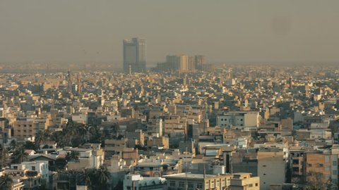 Populated city of Karachi, packed with houses and buildings. Karachi, Pakistan. 14th February 2017