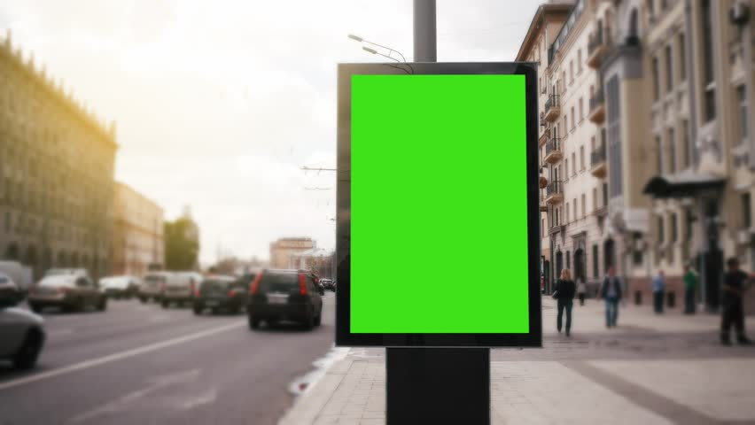 A Billboard with a Green Screen on a Busy Street | Shutterstock HD Video #27230968