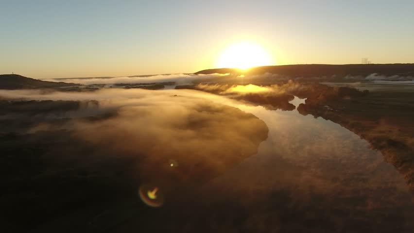 River valley, early morning fog in Primorye, Vladivostok.