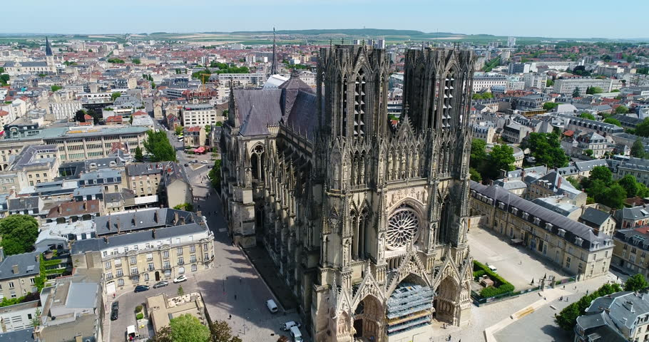 France, Marne, Reims, Aerial view of Notre-Dame de Reims cathedral, listed as World Heritage by UNESCO, 4K, UHD (4096X2160) #27244948