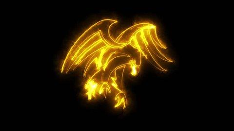 Burning Orange Neon Eagle Logo Graphic Element