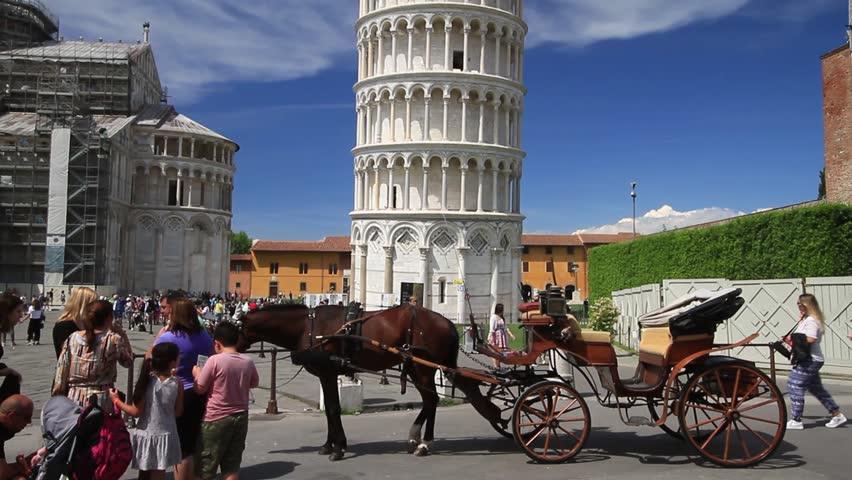 Pisa, May 2017: Tourists in Square of Miracles (Piazza dei Miracoli ) with the famous Leaning tower and the Cathedral, on May 2017 in Pisa   Shutterstock HD Video #27280348