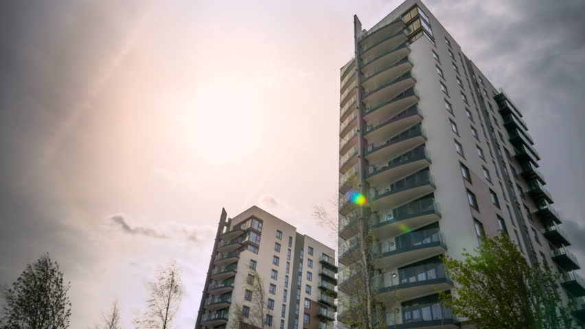 Modern Apartment Building Timelapse.   4K Stock Footage Clip