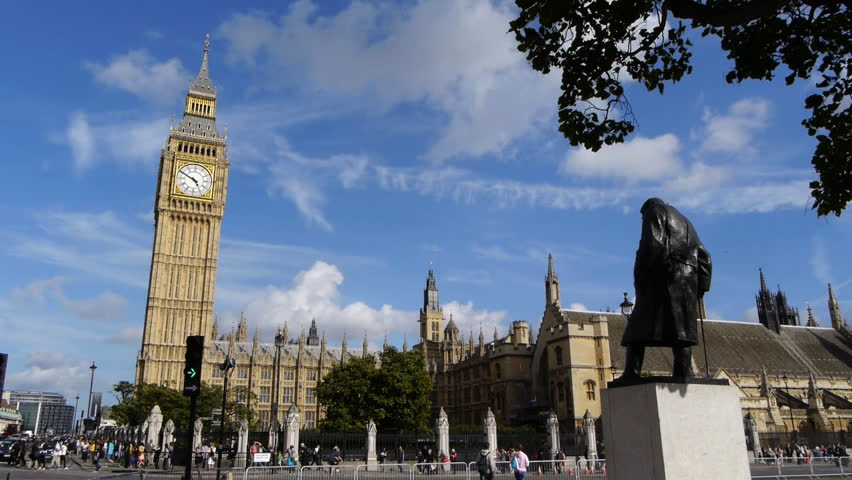 Big Ben, UK parliament and statue of Winston Churchill.