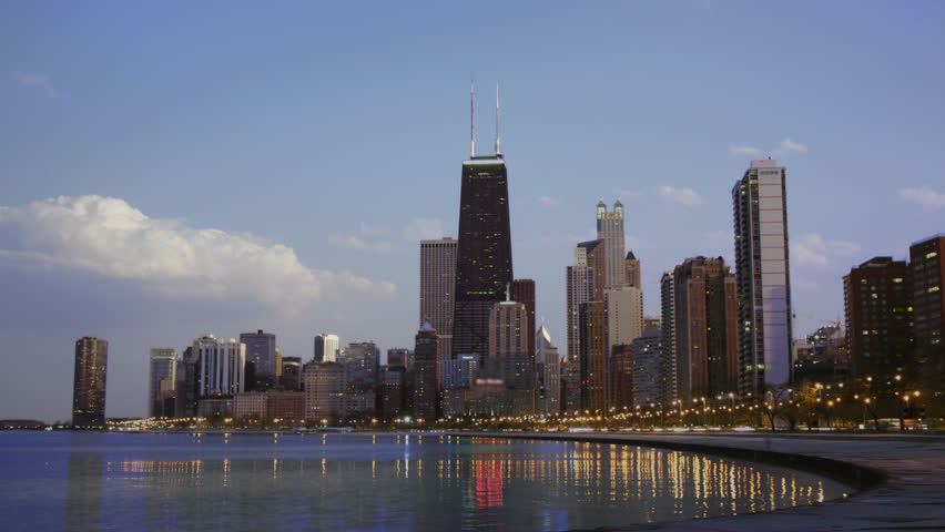 Time lapse shot of day turning to night on Chicago's lakefront skyline