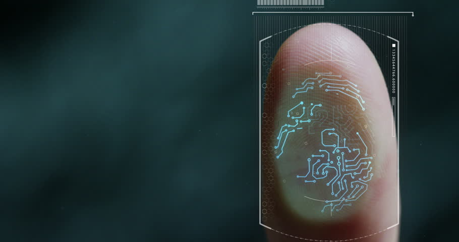 Futuristic digital processing of biometric fingerprint scanner. concept of surveillance and security scanning of digital programs and fingerprint biometrics. cyber futuristic applications future voice | Shutterstock HD Video #27350908
