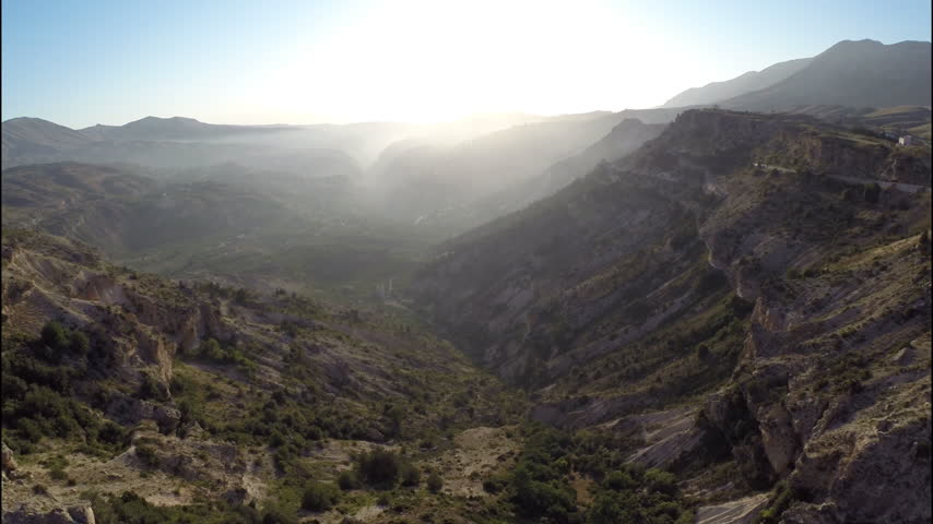Qadisha Valley. Aerial view of the geography of Qadisha Valley at sunset. The valley is deep gorge located in north Lebanon. UNESCO site.