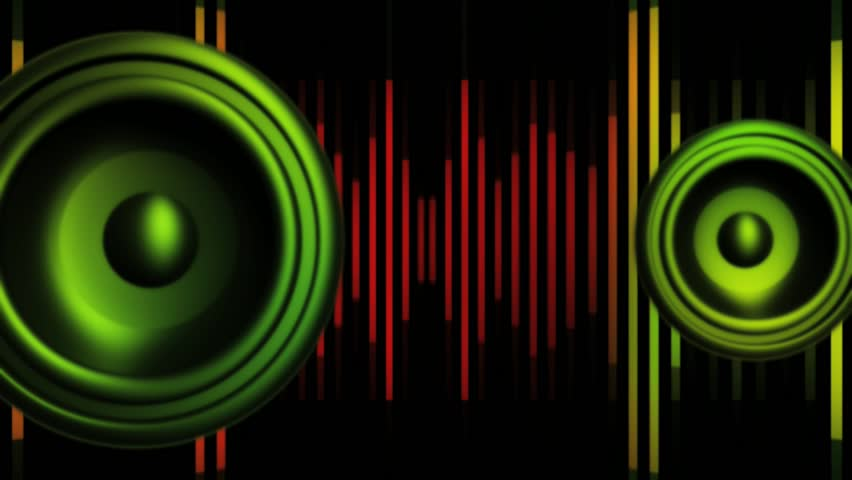 abstract cgi motion graphics and animated background with speakers