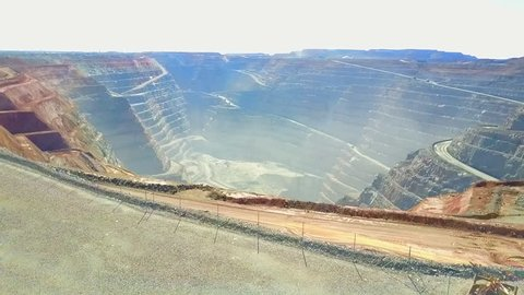 Description: Kalgoorlie, Australia - 25th July 2017: Aerial view of open cut Super Pit gold mine in Kalgoorlie, Western Australia.