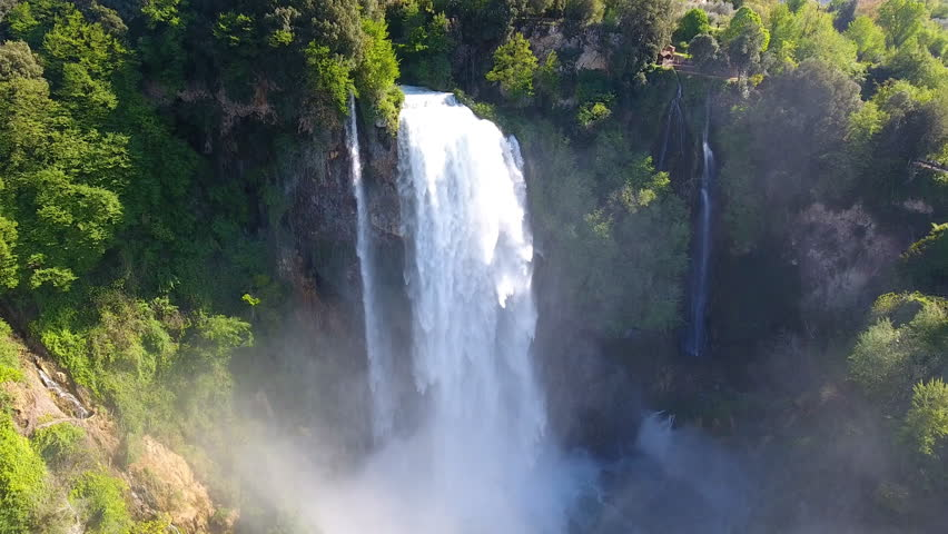 Aerial View of Marmore's Falls in Umbria, Italy. One of highest waterfall of Europe #27377398