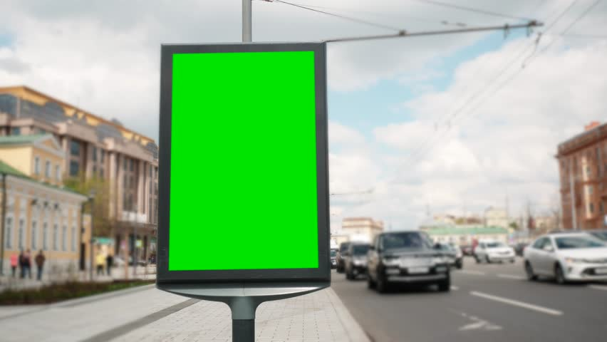 A Billboard with a Green Screen on a Busy Street | Shutterstock HD Video #27387898