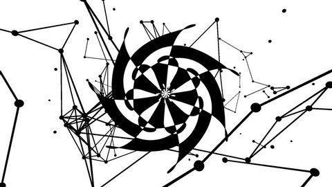 Black and white visualization, mandala point of flight and lines, blurred background.