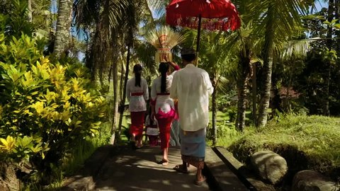 Bali procession between palm trees