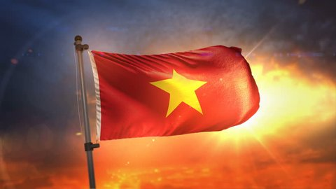 Vietnam Flag Backlit At Beautiful Sunrise Loop Slow Motion 3D Rendering 4K