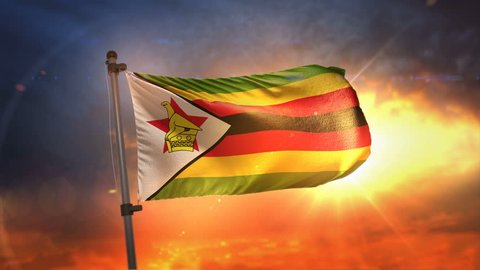 Zimbabwe Flag Backlit At Beautiful Sunrise Loop Slow Motion 3D Rendering 4K