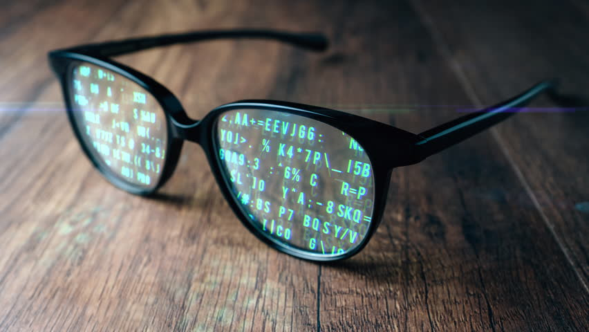 Abstract Animation Digital Computer Code Running in Glasses
