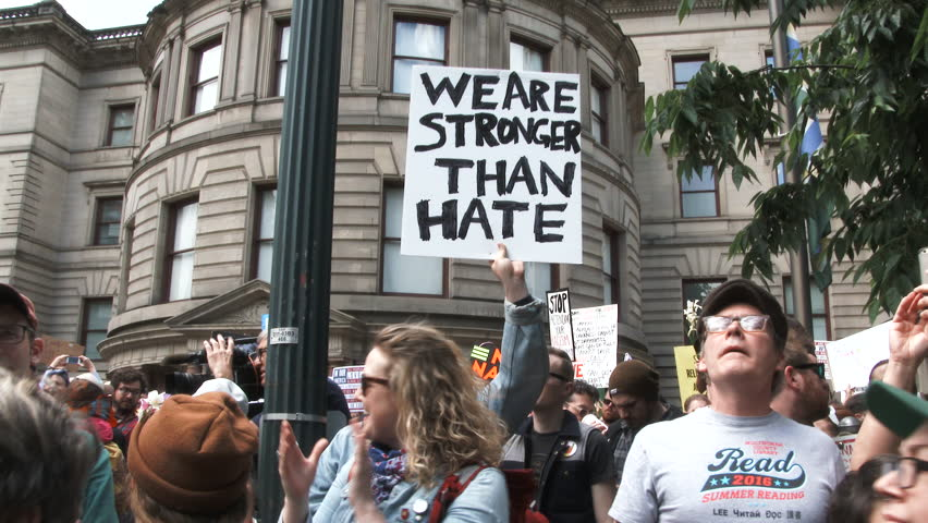 "JUNE 4TH, 2017 - PORTLAND, OREGON: People chanting ""Black Lives Matter"" gather in downtown Portland during a peaceful protest."