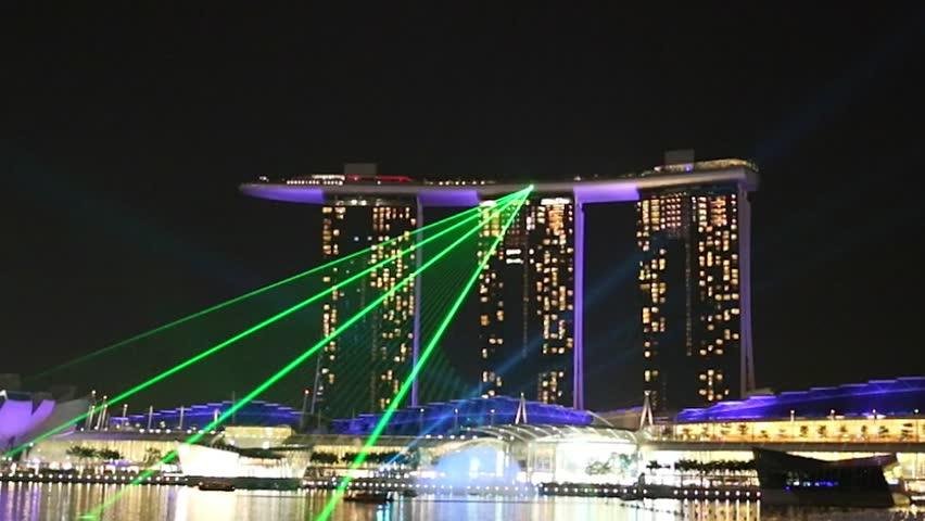 MARINA BAY SINGAPORE DEC 17 Marina Bay Sands Laser Light Show At Night Ti