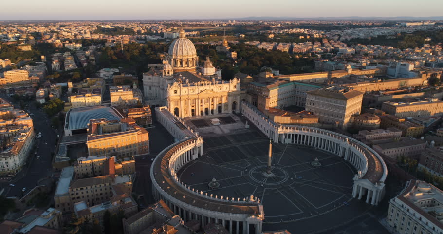 Aerial view of Rome skyline cityscape with Vatican City landmark at sunrise | Shutterstock HD Video #27532096