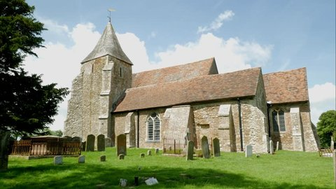 Old Medieval Church time-lapse in English Countryside. St. Clements Church in Old Romney, Romney Marsh.
