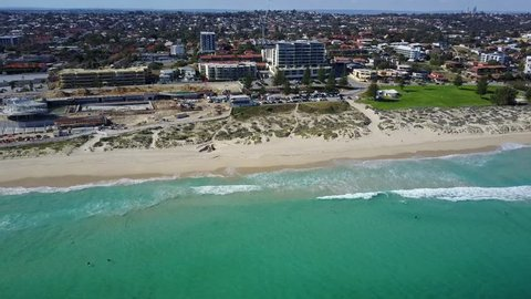 Aerial video of Perth's famous Scarborough Beach. Currently under development, it will soon have a public pool like in Sydney and ,probably, highest skyscraper in Perth. Western 'Gold Coast'.