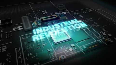 Hologram typo 'Industrial Revolution' on CPU chip circuit, grow artificial intelligence technology.